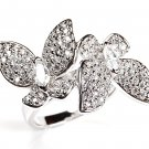 Designer Sterling Silver Micro Pave CZ Ring Twin Two Butterflies Big Cocktail