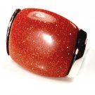 Brown Orange Goldstone in  Sterling Silver Ring Men Women Big Chunky Unisex