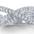 CZ Micro Pave Crossed Sterling Silver 925 Ring White Cubic Zirconia Criss Cross