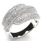 Big Micro Pave CZ Sterling Silver 925 Cocktail Anniversary Ring SPARKLY