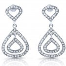 Sterling Silver Pear Shaped Micro Pave White CZ Drop Chandelier Earrings