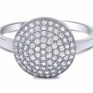 micro pave-set CZ Dome sterling silver 925 Ring fireball cocktail designer ring