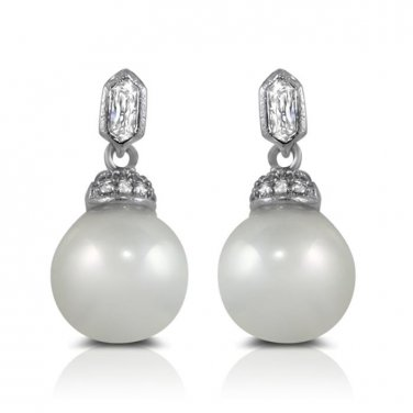 Stainless Steel White Pearl Drop and Dangle Earrings with Micro Pave CZ Accents