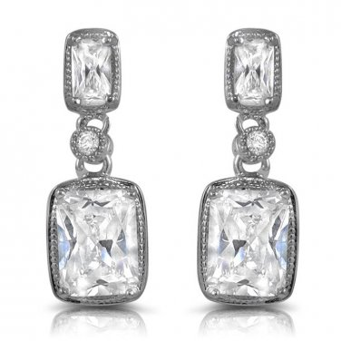 Classy Emerald Cut CZ Dangle Post Stud Earrings White Cubic Zirconia 20mm or 0.