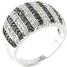 Large Black & White Micro Pave Cocktail 925 Sterling Silver Ring CZ Anniversary