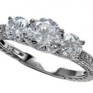 3 Stone Vintage Micro Pave CZ 925 Sterling Silver Engagement Ring  6,7,8,9