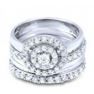 Round Cut Pave Round CZ Engagement 5 piece Wedding Ring Set Stackable Bridal