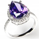Pascollato Jewelry Amethyst Cz 925 Silver Ring 3 Ctw Pear Shaped W/ P