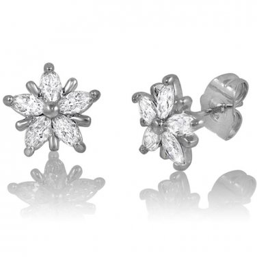 Small Snowflake Post Stud Earrings White Cubic Zirconia Wedding Party Studs
