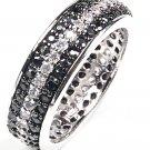 women's round BLACK CZ sterling silver ETERNITY Wedding Band fashion Ring