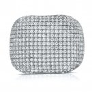 Chunky 925 Pave Cz Ring Sterling Silver Wide Cocktail Band White Cubic Zirconi