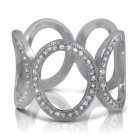 925 Sterling Silver Pave CZ Eternity Ring Cocktail Fashion Lady's Ring