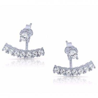 White 925 Sterling Silver Cz Ear Jacket Cubic Zirconia Stud Earring Cuff 2 In