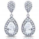 Tear drop pear shaped white CZ Sterling Silver Dangle Earrings 925