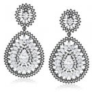 Black White Sterling Silver CZ Statement Earrings DECO Chandelier .925 TOP GRADE