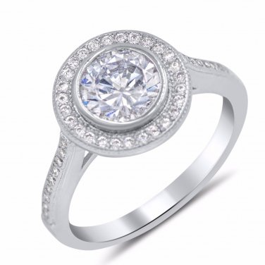 Bezel Set round cut CZ Sterling Silver Engagement Wedding Ring