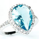 925 Sterling Silver Pear Cut Blue & White CZ Halo Pave Anniversary Ring
