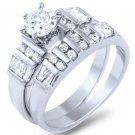 Sterling Silver Baguette Round CZ Bridal Set Ring Set 2-Pc Wedding ring Set 3ct