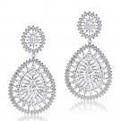 Top Grade DECO Pear Shaped  Sterling Silver CZ Drop Chandelier  Earrings Bridal