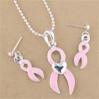Pink Ribbon Necklace Set