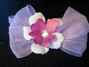 Purple and white flower, lavender bow, purple band