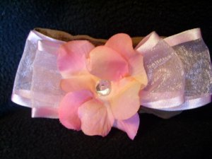 light pink flower, pink bow, brown band