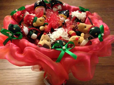 Red Christmas Bouquet With Three Santa Claus, Four Snowmen, & Four Bears, Best Christmas Gift