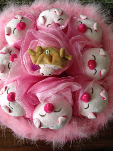 Eight Red Nose Pig Bouquet, Pink Cute Pig Bouquet with a Cute Bear, Best Gift For Any Occasions