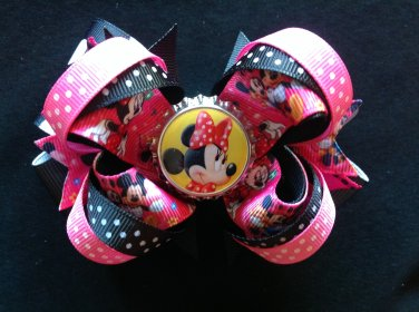 Cute Minnie Mouse Hair Bow, stacked Hair Bow, With Pink & Black