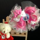Frozen Hair Bow, Pink & White Stacked Hair Bow, Rhineston Hair Bow