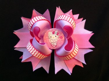Hello Kitty Hair Bow, Pink & Lavender Hair Bow, Stacked Hair Bow