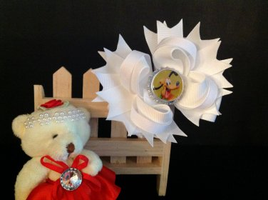 White hair Bow, Donald Duck Hair Bow, Stacked Hair Bow