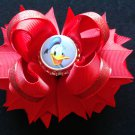 Disney Donald Duck Hair Bow, Boutique Stacked Hair Bow, Red Hair Bow