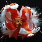 Maple Leaf Hair Bow, Beauty Orange Stacked Hair Bow, Full Hair Bow