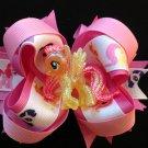 Shine Glitter Yellow & Pink Pony Hair Bow, My Liite Pony Hair Bow, Sacked Hair Bow