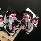 Black Rhinestone Beads Hair Bow, Becorative Hair Bow, Pretty Stacked hair Bow, Butterfly Hair Bow