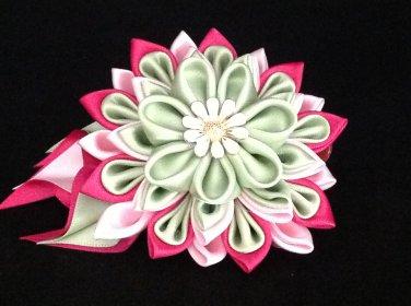 Kanzashi Flower Clip, Resin Flower Clip, Ribbon Flower