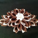 Kanzashi Flower Barrette, Resin Flower, Ribbon Flower Barrette