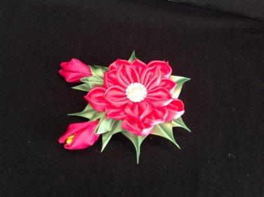 Kanzashi Flower Clip, Tsumami Kanzashi Flower, Ribbon Flower