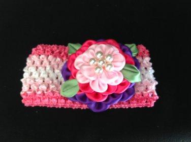 Kanzashi Flower Headband, Ribbon Flower headband, Girls Flower Headband