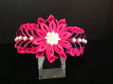 Kanzashi Flower Headband, Ribbon Flower Headband, Garden Rose Headband, Girls Flower Headband