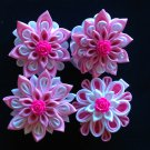 Tsumami Kanzashi, pink & White Flower Clip