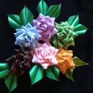 Brooch Flower, Kanzashi Flower, Tsumami Kanzashi, Rose Ribbon Flower, Ribbon, Multiplw Color Flower