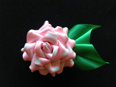 Cute, Rose Flower Clip, Brooch Flower Pin, Tsumami Kanzashi Flower