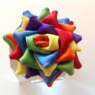 Rainbow Rose Ribbon Flower, Tsumami Kanzashi Flower