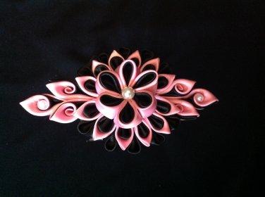 Kanzashi Flowr Barrette, Tsumami Kanzashi, Ribbon Flower Barrette
