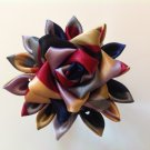 Kanzashi Flower-Brooch Pin, Tsumami Kanzashi, Ribbon Flower Alligator Clip