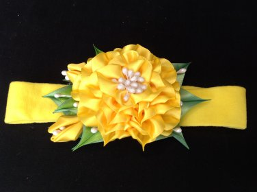 Kanzashi FLower Headband, Ribbon Summer Flower Headband, Girls Flower Headband
