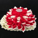 Kanzashi Flower Headband, Ribbon Flower Headband, Red & Ivory Headband, Girls Flower Headband