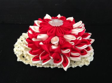 Kanzashi Flower Headband, Ribbon Flower Headband, Red & Ivory Headband, Girls Flower Headband